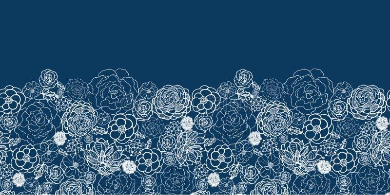 Lilor snör åt blommaden horisontalsömlösa modellen royaltyfri illustrationer