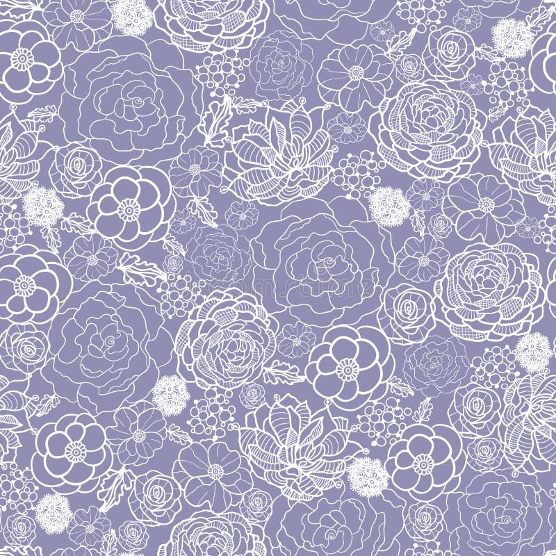 Lilor snör åt sömlös modellbakgrund för blommor stock illustrationer