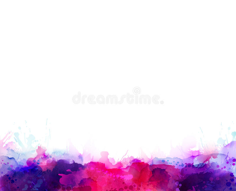 Lilor, violet, lila och rosa färgvattenfärgfläckar Ljus färgbeståndsdel för abstrakt konstnärlig bakgrund stock illustrationer