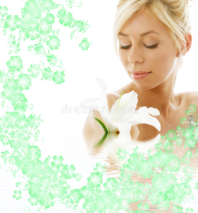 Lily Blond In Water With Flowe Stock Image