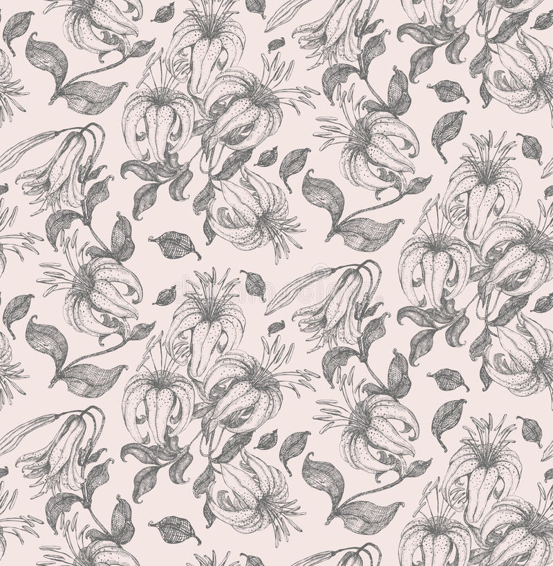 Lily Drawing Seamless Pattern Royalty Free Stock Photo