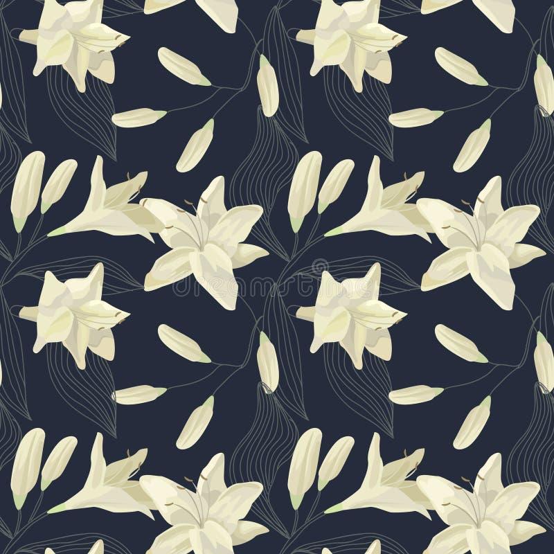 Lily Engraving Seamless Pattern tropical Fundo floral da aquarela ilustração royalty free