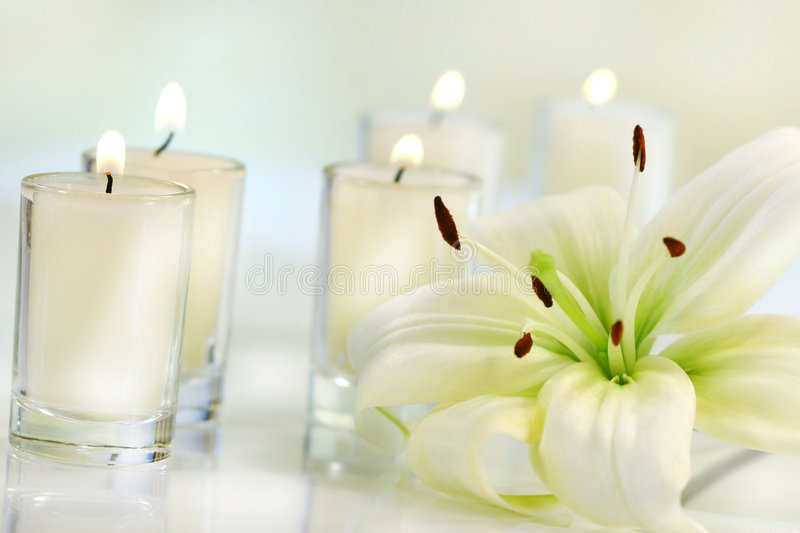 Lily flower with candle. On pale background