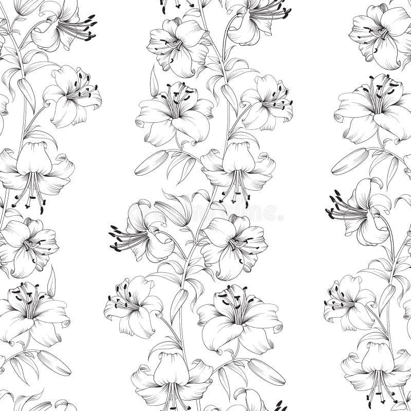 Lily flower pattern stock illustration