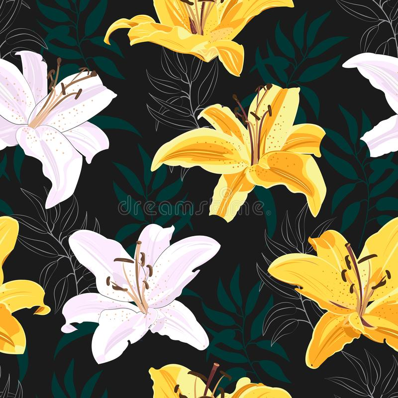 Lily flower seamless pattern on black background, White and yellow lily floral stock illustration
