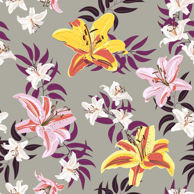 Lily flower seamless pattern on gray background, White, Pink and Yellow lily floral stock illustration