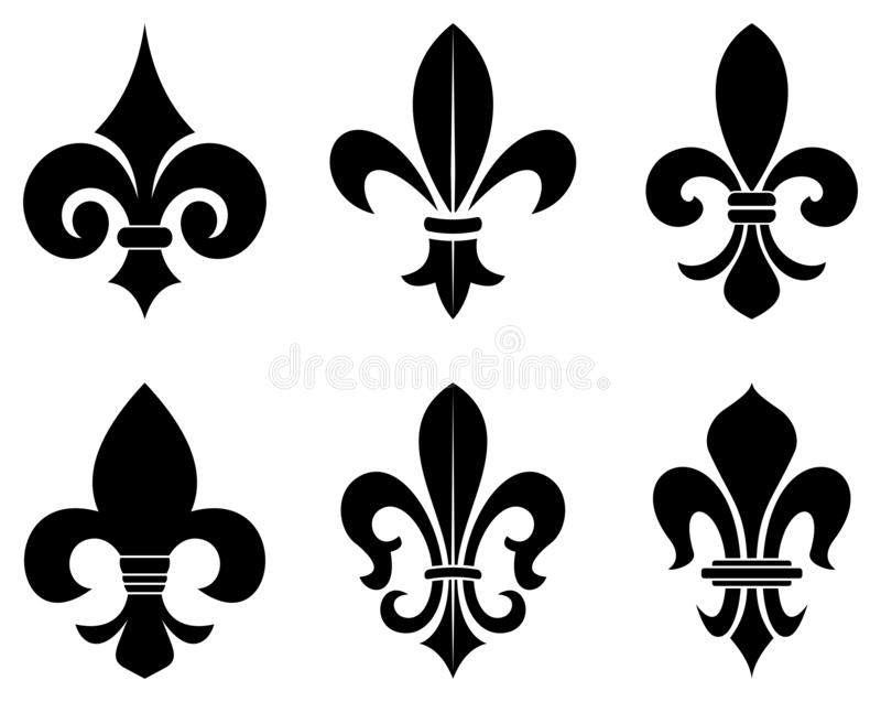 Lily flower symbol in different variations on a white isolated background. Exact shape design useable for all Heraldic requirements vector illustration