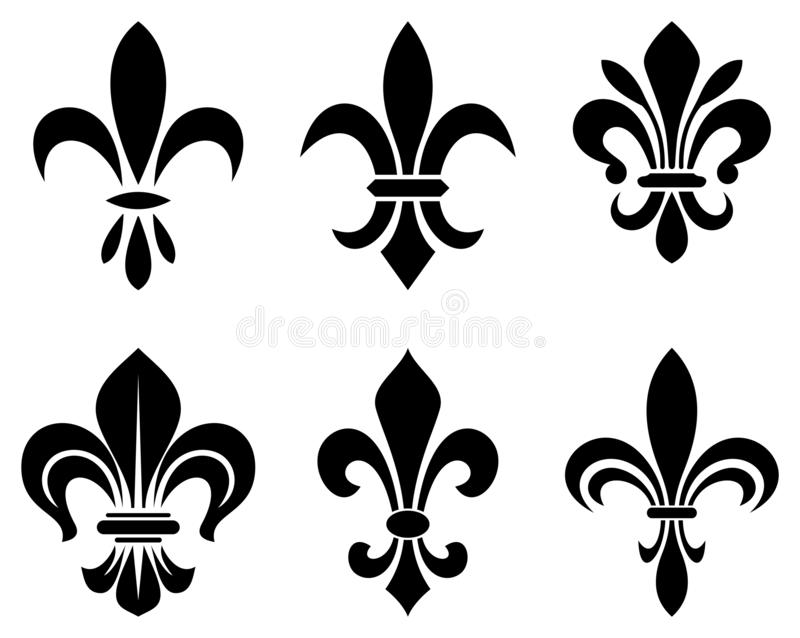 Lily flower symbol in different variations on a white isolated background. Exact shape design useable for all Heraldic requirements stock illustration