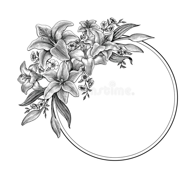 Free Lily Flowers Hand Drawing Vintage Black And White Clip Art For M Royalty Free Stock Photos - 118866838