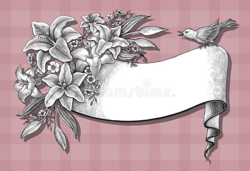 Lily flowers hand drawing vintage card on pink background royalty free illustration