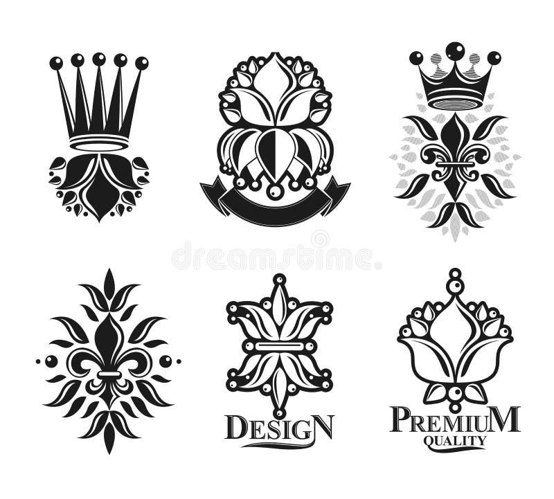 Lily Flowers Royal symboler, blom- och kronor, emblem ställde in Heraldiska isolerade vektorillustrationer för vapensköld dekorat vektor illustrationer