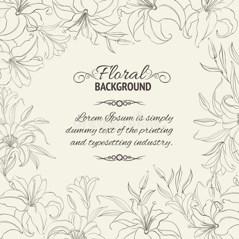 Lily frame vector illustration