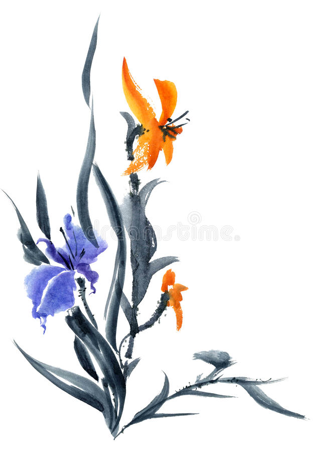 Lily and iris. Watercolor and ink painting in style gohua, sumi-e, u-sin. Oriental traditional painting royalty free illustration