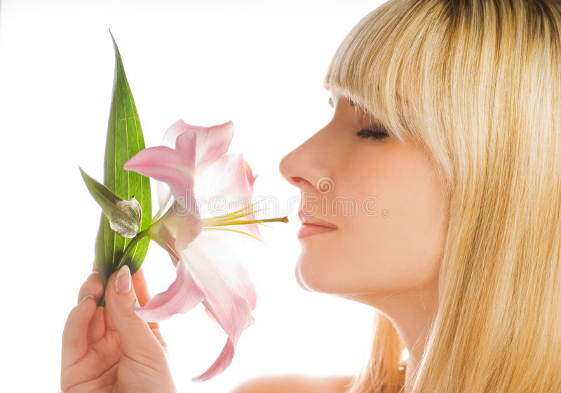 lily jest różowa kobieta obraz stock