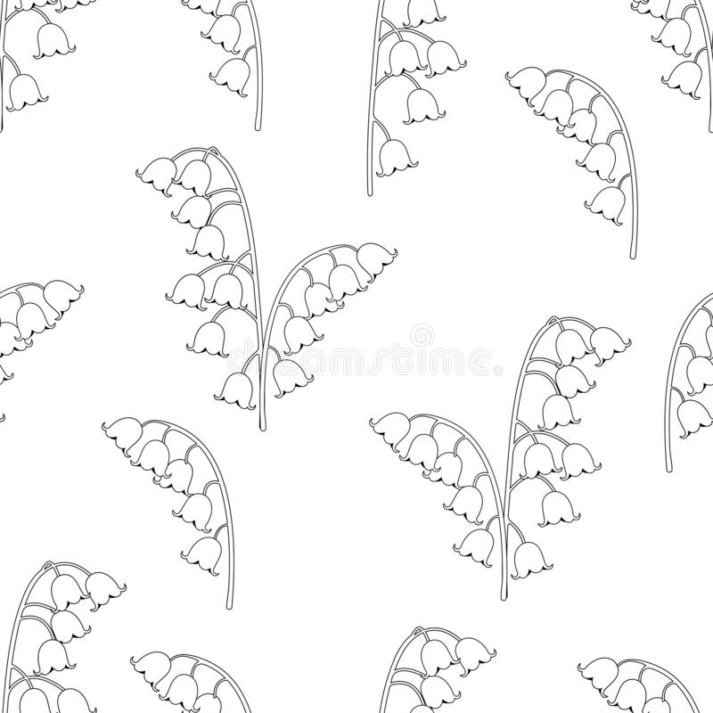 Free Lily Of The Valley Floral Seamless Pattern, Black And White Drawing, Coloring, Vector Illustration. Outline Buds Flowers Bluebells Royalty Free Stock Photos - 143148538