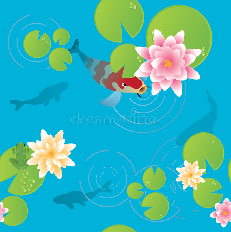 Download Lily pond stock vector. Image of water, drawing, background - 7204909