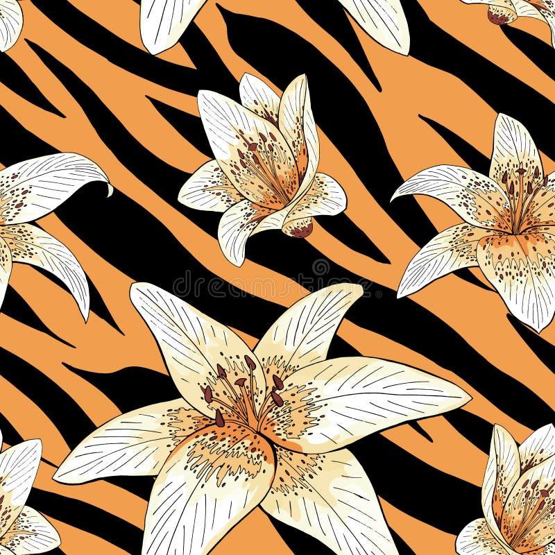 Lily tiger type on tiger skin pattern seamless stock illustration