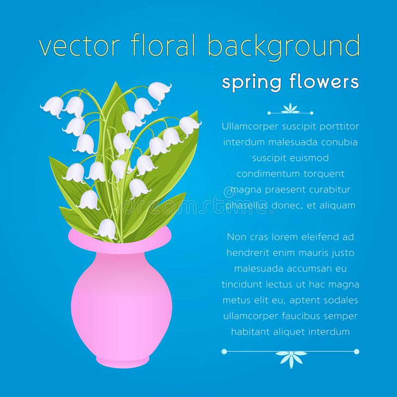 Lily of the valley, bouquet of delicate spring flowers in pink vase, vector illustration. White buds forest flowers bluebell,. Green stalk and leaves isolated stock illustration