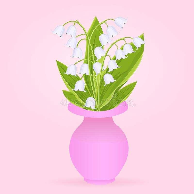 Lily of the valley, bouquet of delicate spring flowers in pink vase, vector illustration. White buds forest flowers bluebell,. Green stalk and leaves isolated royalty free illustration
