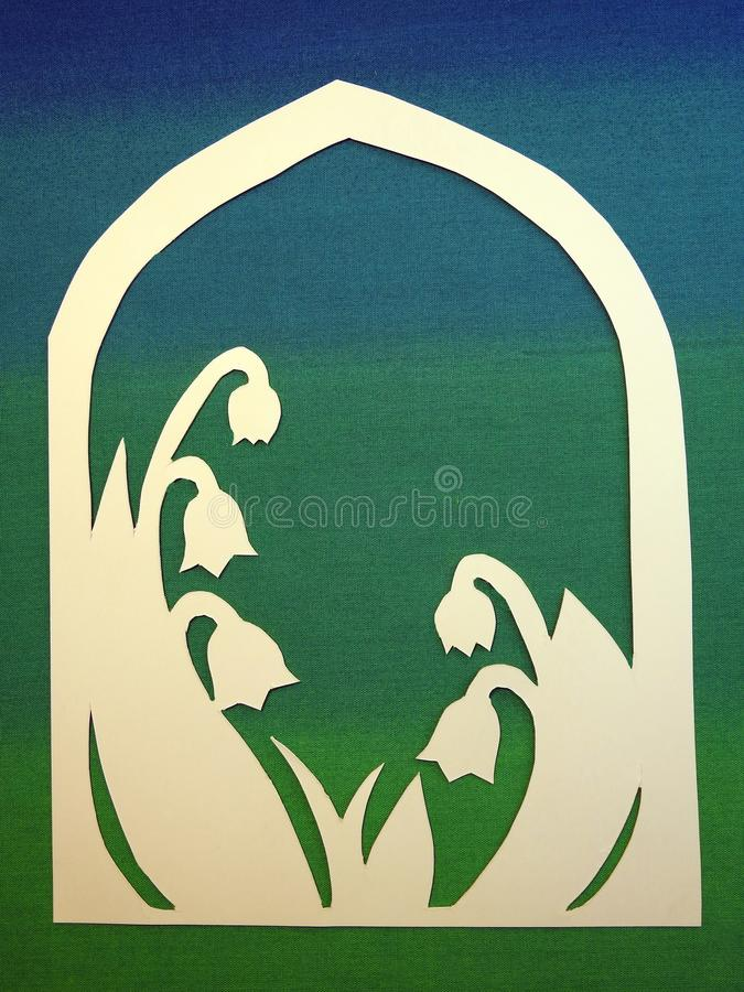 Lily of the valley cut from white paper royalty free stock images