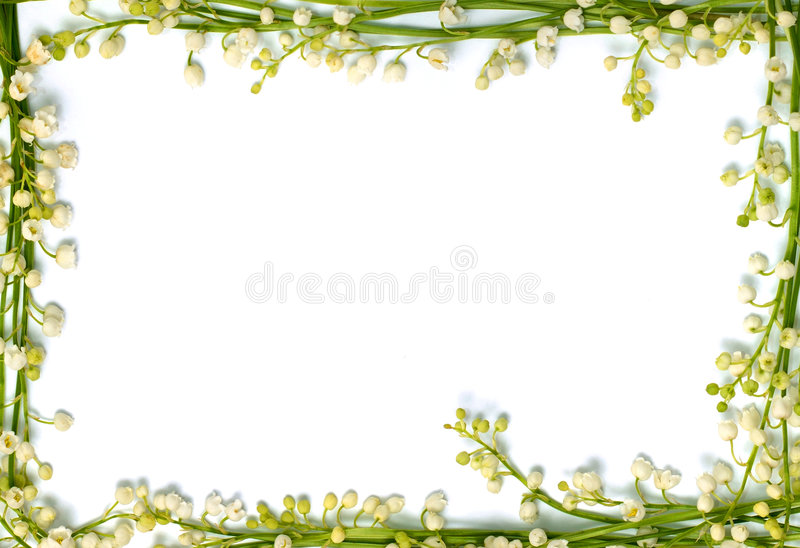 Lily of the valley flowers on paper frame border isolated horizontal background stock images