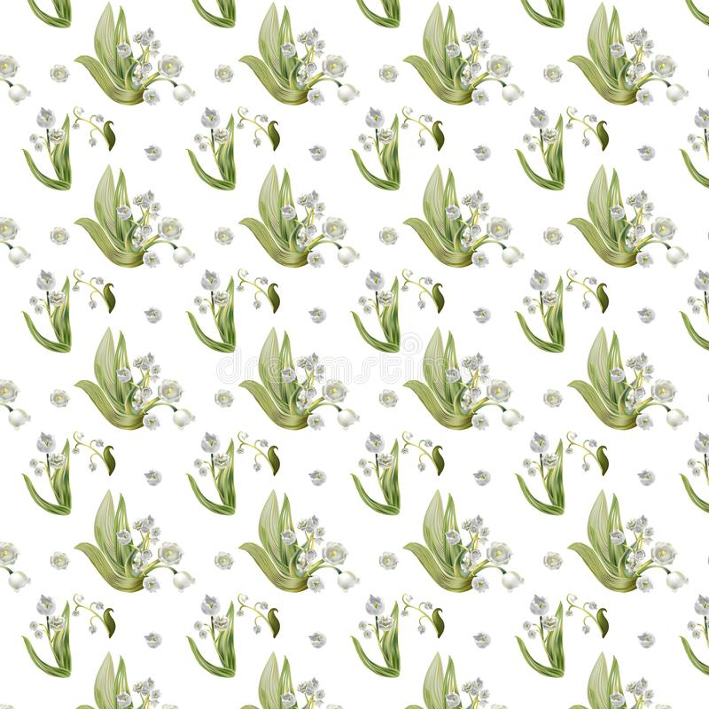 Lily of the valley pattern for spring collection stock photos