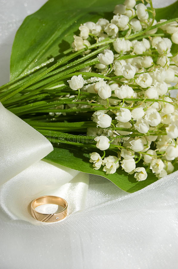 Download Lily-of-the-valley And Wedding Ring Stock Image - Image: 9366365