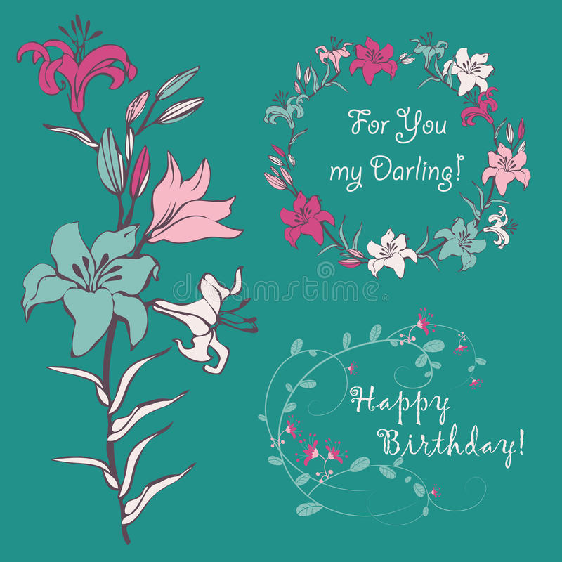 Lily for your greeting card vector illustration