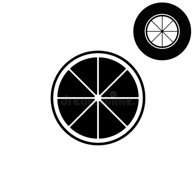 Limão - ícone branco do vetor ilustração stock