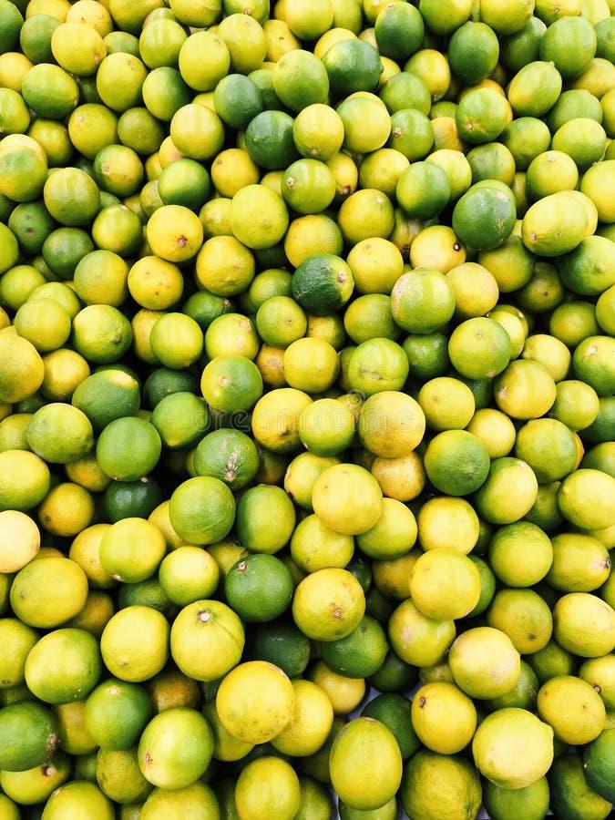 Limão amarelo e verde natural imagens de stock