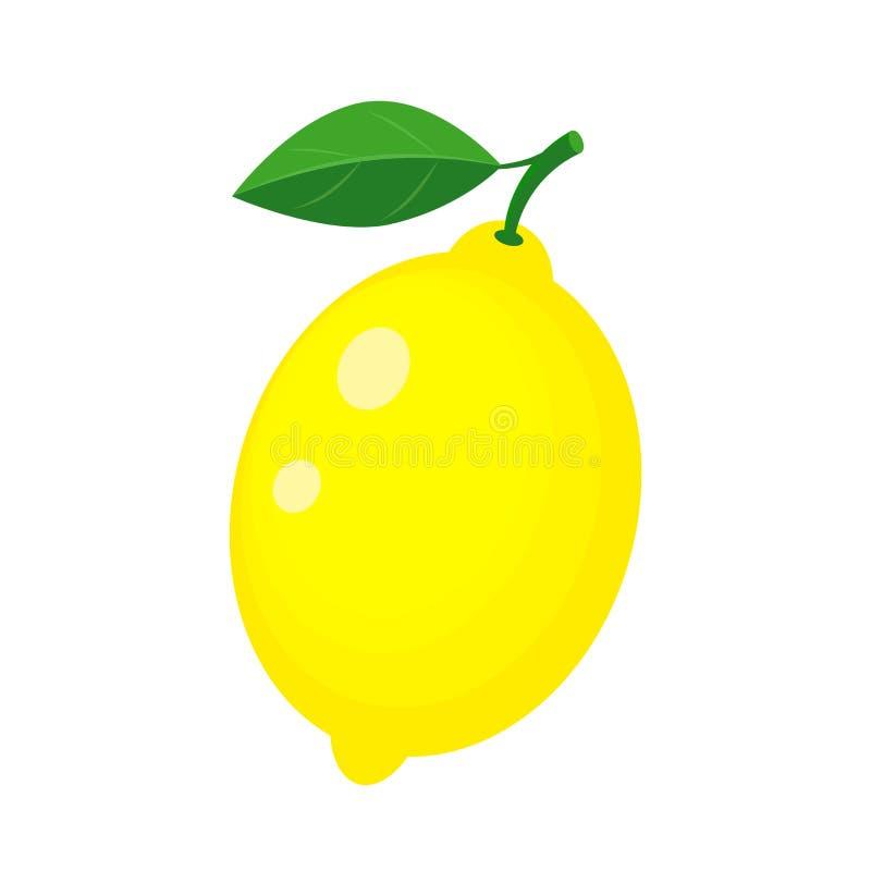Limão amarelo inteiro colorido com folha verde Ilustração do vetor ilustração royalty free