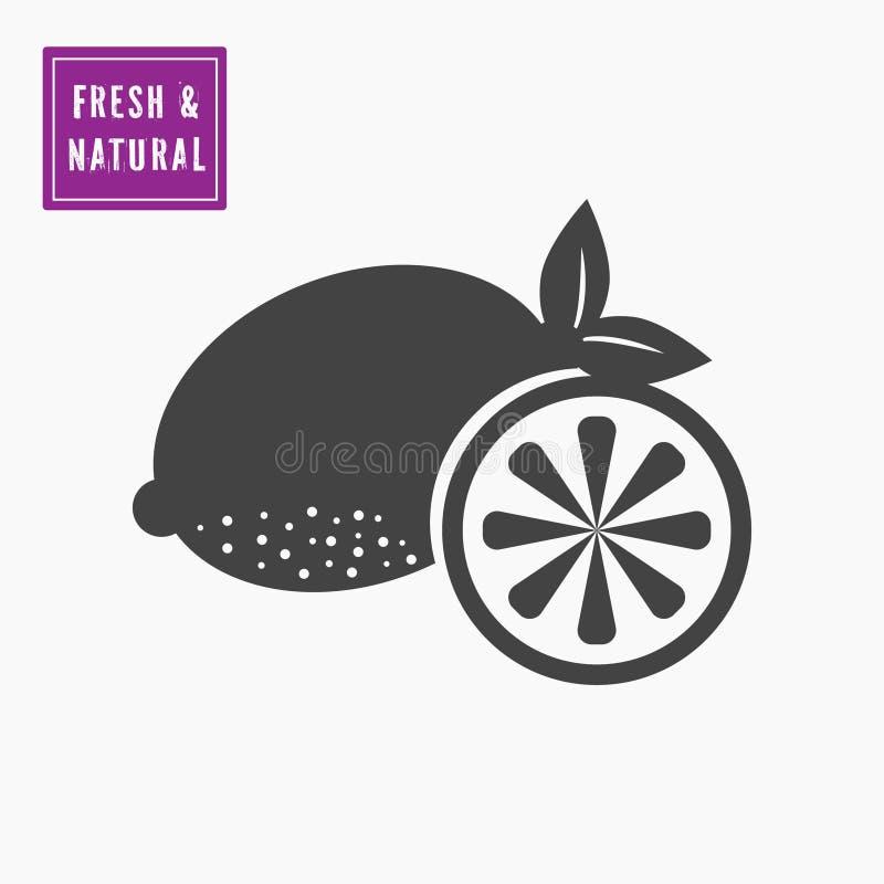 Limão cortado inteiro e meio preto, ícone do cal ilustração do vetor