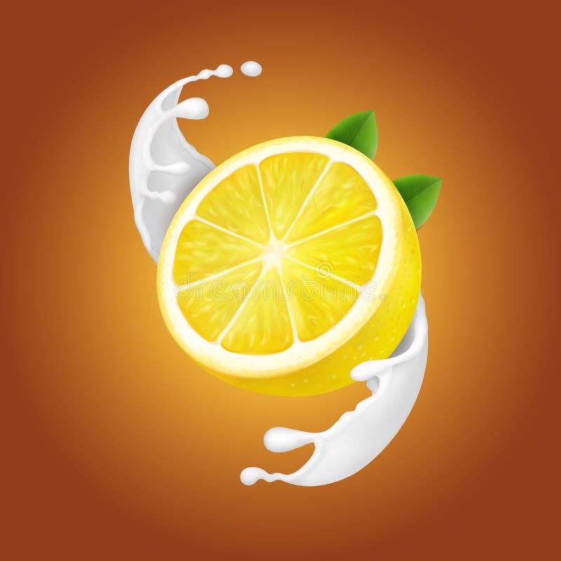 Limão do iogurte no fluxo do respingo ou do iogurte do leite ilustração do vetor