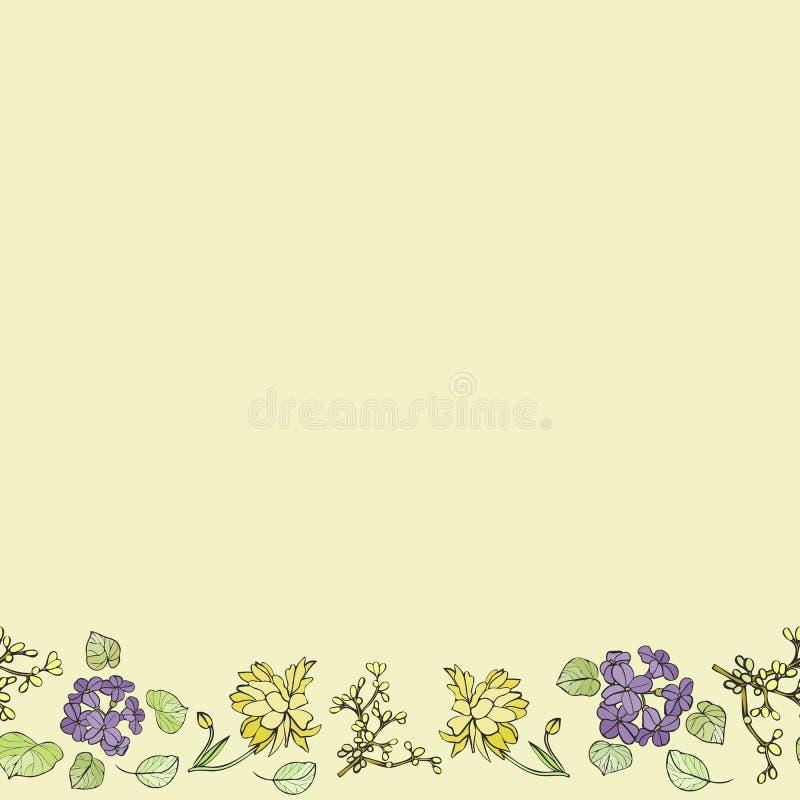 Limão e coleção floral azul do vetor do teste padrão da repetição da beira foto de stock