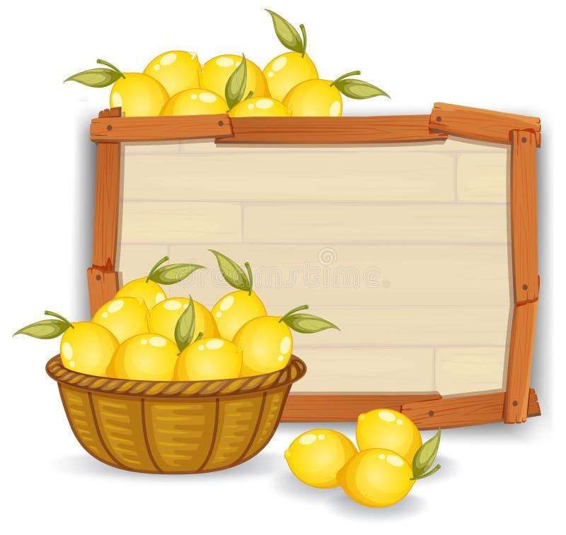 Limão na placa de madeira ilustração do vetor