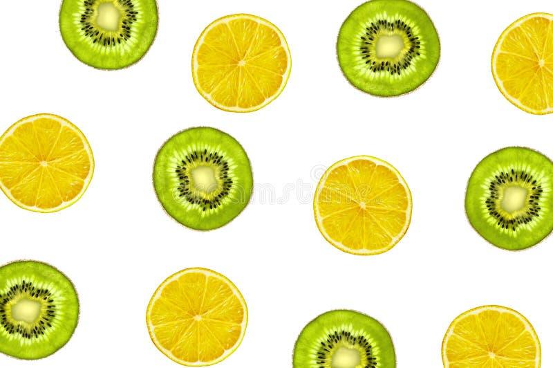 Limón amarillo y verde Kiwi Fruits Pattern imagen de archivo libre de regalías