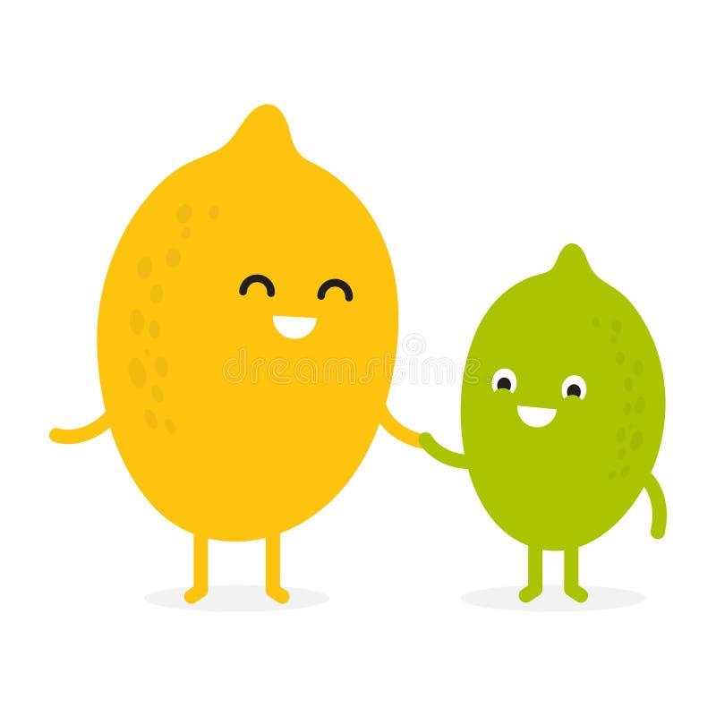 Lim?n, cal, car?cter lindo de la fruta ilustración del vector