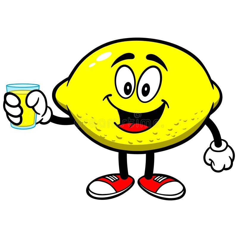 Limón con el jugo de limón stock de ilustración