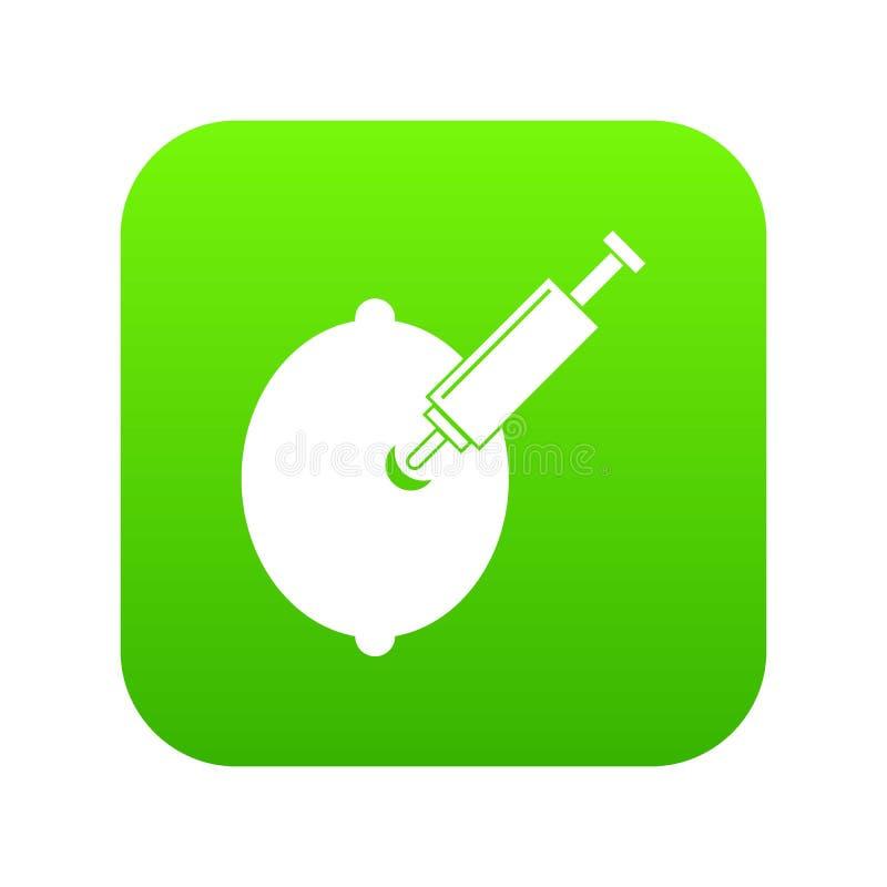 Limón de la OGM con verde digital del icono de la jeringuilla libre illustration