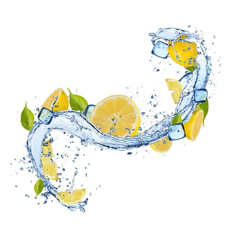 Limón en chapoteo del agua en el fondo blanco stock de ilustración