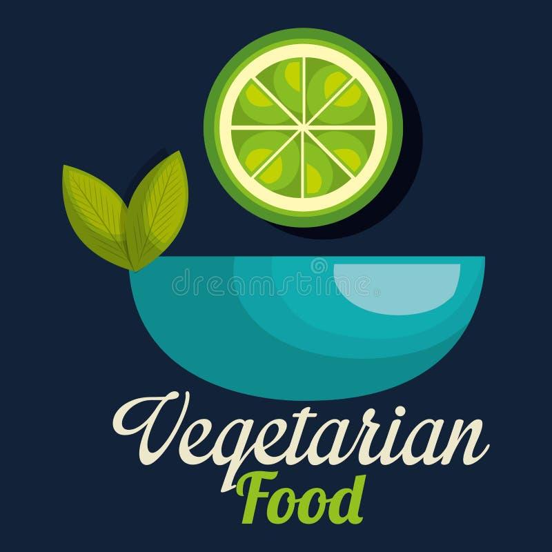 Limón fresco en comida del vegetariano del cuenco stock de ilustración