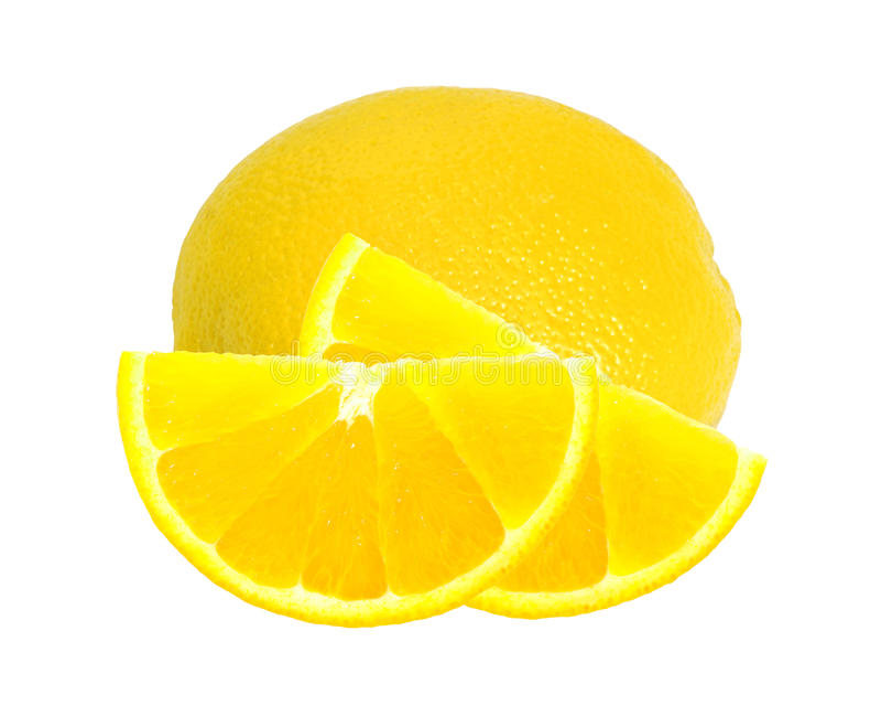 Limón maduro amarillo sobre el blanco fotos de archivo libres de regalías
