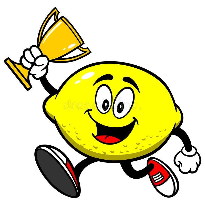 Limón que corre con el trofeo stock de ilustración