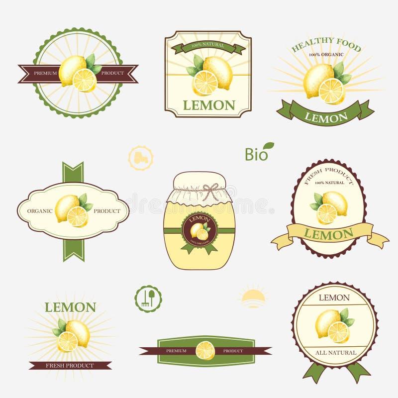 Limón, sistema del diseño de la etiqueta stock de ilustración