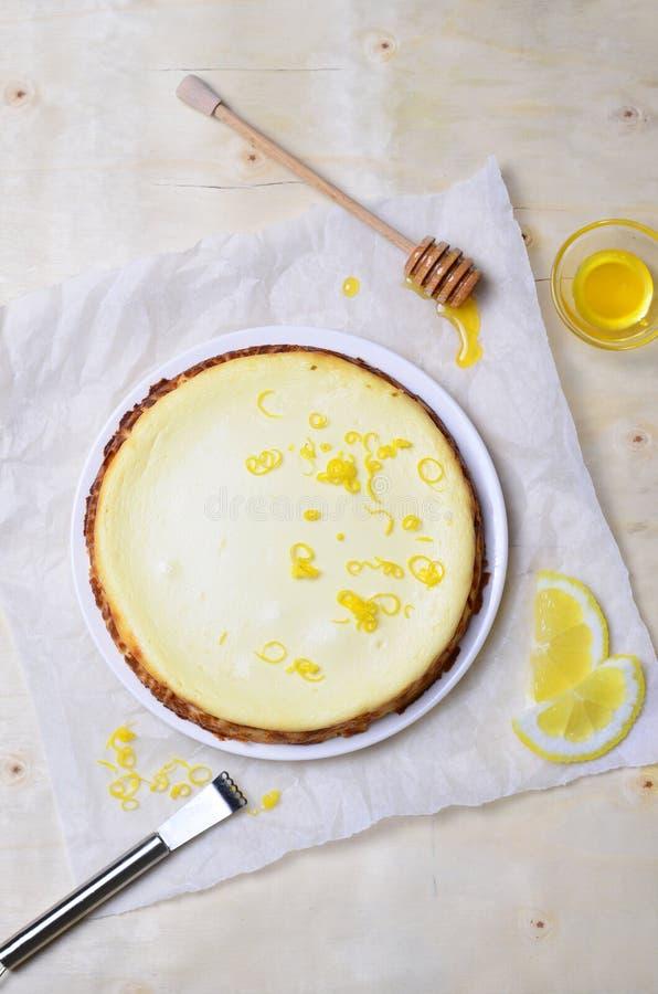 Limón y Honey Cheesecake fotografía de archivo