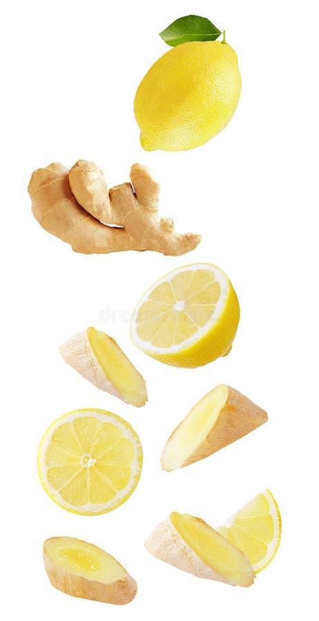 Limón y jengibre que caen aislados en el fondo blanco fotografía de archivo