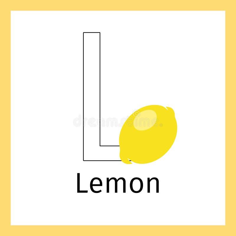 Limón Y Letra L Página Del Colorante Ilustración del Vector ...