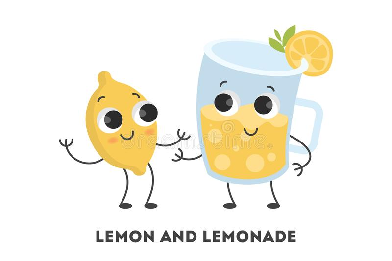 Limón y limonada de la historieta ilustración del vector