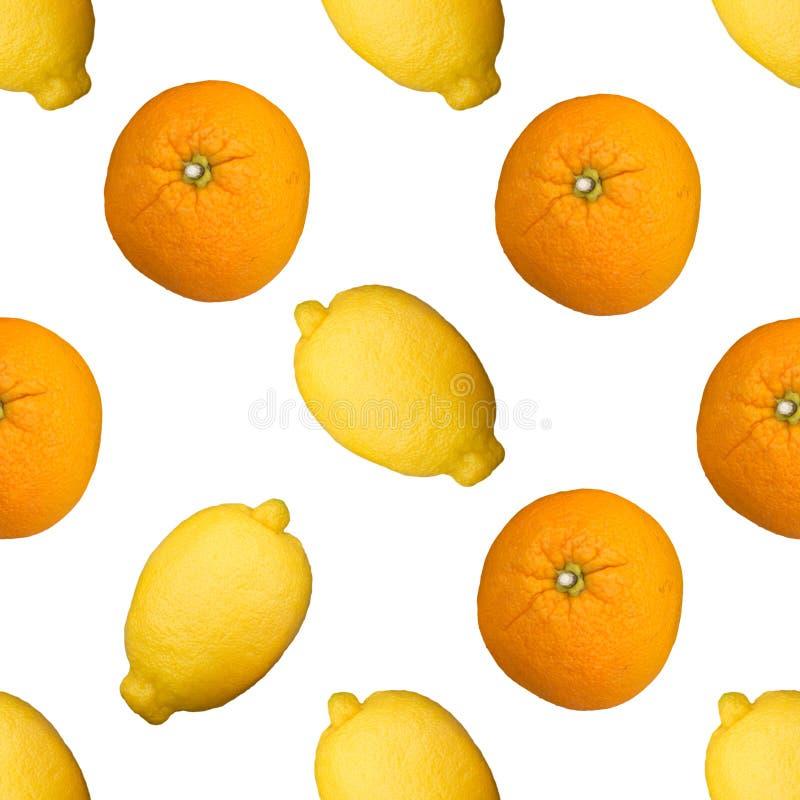 Limões completos e teste padrão sem emenda alaranjado no backgraund branco imagem de stock royalty free