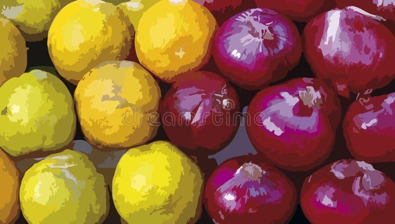 Limões e cebolas no mercado, projeto ilustrativo da estação imagem de stock